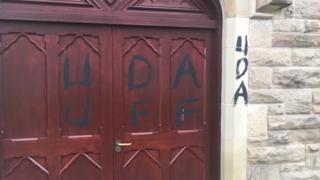UDA and UFF graffiti on St Mary's church