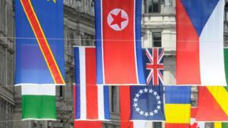 أعلام مختلفة لعدة دول أوروبية