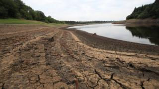 Low water levels in Wayoh Reservoir at Edgworth near Bolton