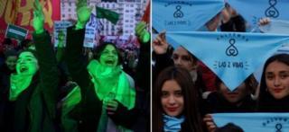 Зеленый цвет стал символом движения в поддержку легализации абортов, синий - цвет их оппонентов