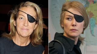 Marie Colvin in 2011 and Rosamund Pike in A Private War