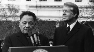 中國領導人鄧小平1979訪問美國受到卡特總統歡迎