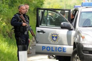 Armed Kosovo police during a raid near the town of Zubin Potok. Photo: 28 May 2019