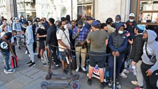 There were big queues outside the Nike store in Central London