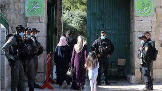 Muslim worshippers enter the Al-Aqsa Mosque compound in Jerusalem's old city