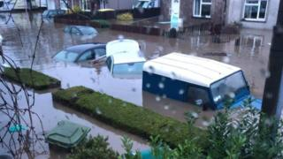 Cars are submerged in Nantgarw