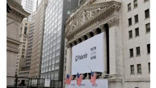 Palantir banner at the NYSE on 30 September 2020