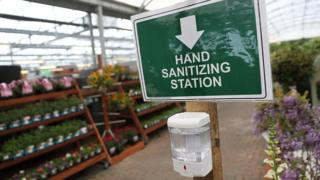 A hand sanitizing station inside Capital Gardens' Sherfield near Basingstoke