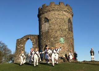 Leicester Morris Men at the Old John Tower in Bradgate Park, Leicestershire