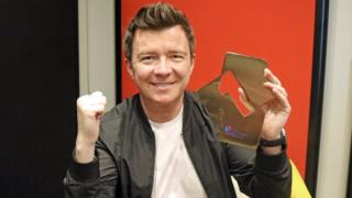 Rick Astley with his Official Albums Chart Number 1 Award