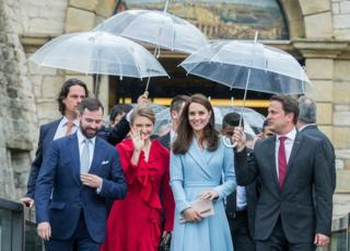 Grand-duke heir Guillaume de Luxembourg, Grand Duchess Heiress Stephanie du Luxembourg ,Britain's Duchess of Cambridge Catherine and Prime Minister of Luxembourg, Xavier Bettel arrive at the Drai Eecheln Museum while she attends the commemoration of the 150th anniversary of the treaty of London in Luxembourg