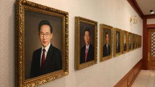 Portraits of former South Korean presidents