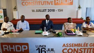 Siaka Outtara, Albert Toikeusse Mabri du parti UDPCI, le président ivoirien et chef du nouveau parti RHDP Alassane Ouattara, Henriette Diabaté et Joseph Seka Seka du PIT.