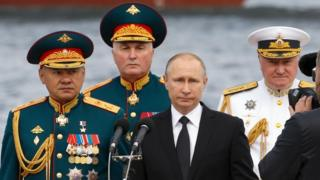 Putin, con mandos militares.