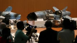 Debris from drones and missiles that Saudi Arabia says prove Iranian involvement in oil installation attacks.