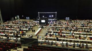 Counting in EU Referendum at Leeds Arena