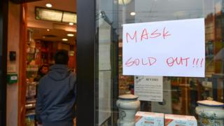 Masks sold out in pharmacy in Italy