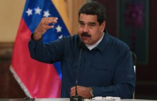 Venezuela's President Nicolas Maduro during a televised speech in Caracas, Venezuela