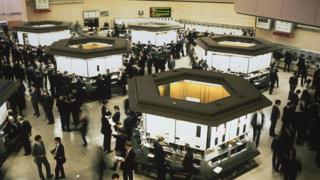 Traders at work at the London stock exchange, circa 1980