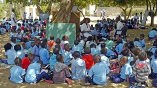 Cinco turmas escolares embaixo de árvores, com crianças sentadas no chão e quadro-negro apoiado nos troncos