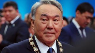 Kazakh President Nursultan Nazarbayev at his swearing-in in 2015