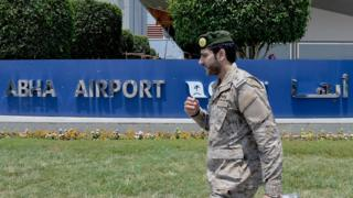 File photo showing Saudi military officer outside Abha airport on 13 June 2019