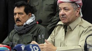 Kosrat Rasul (L) and Massoud Barzani (R) in Kirkuk on 12 September 2017
