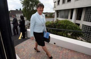 Democratic Unionist Party leader, and former Northern Ireland First Minister, Arlene Foster, reacts as she arrives at the Stormont Hotel in Belfast, Northern Ireland