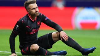 Aaron Ramsey of Arsenal reacts during the UEFA Europa League Semi Final second leg match between Atletico Madrid and Arsenal FC at Estadio Wanda Metropolitano on May 3, 2018 in Madrid, Spain.