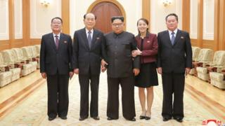 This handout photo by KCNA shows Kim Jong-un, who appears to be supported by Ms Kim Yo-jong on his left and Mr Kim Yong-nam on his right. Choe Hwi is standing on the extreme right and Ri Son-gwon on the extreme left