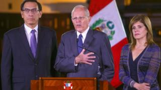 Peruvian President Pedro Pablo Kuczynski (C) with vice-presidents Martin Vizcarra and Mercedes Araoz at the government palace in Lima, Peru, December 20, 2017
