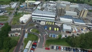 Glan Clwyd Hospital site from the air