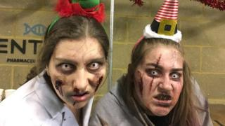 Charlie-Jo Woodford (right) and colleague as zombies