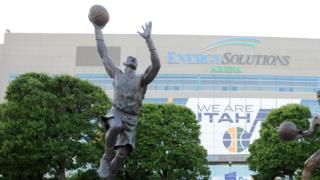 Statue of Karl Malone outside the home of the Utah Jazz.