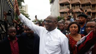 Felix Tshisekedi waves after being announced as the winner of the elections in Kinshasa, Democratic Republic of the Congo - 10 January 2019