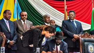 President Salva Kiir signs peace agreement