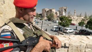 Policía militar ruso en Alepo