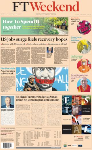 The Financial Times Weekend front page 6 June