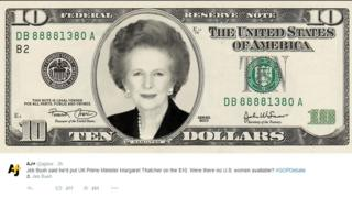 Jeb Bush said he'd put UK Prime Minister Margaret Thatcher on the $10. Were there no U.S. women available? #GOPDebate