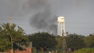 Smoke rises above the Arkema plant at Crosby near Houston. 1 Sept 2017