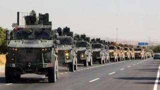 Turkish military convoy in Kilis, near the border with Syria (9 October 2019)