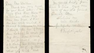 Letter penned by Florence Nightingale