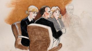 Ilustración del juicio de Taylor Swift