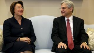 US Senator Amy Klobuchar meets President Barack Obama's Supreme Court nominee Merrick Garland on Capitol Hill