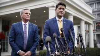 Speaker of the House Paul Ryan (R) and House Majority Leader Kevin McCarthy (L) deliver remarks to the White House press corps following a meeting with US President Donald J Trump about budget negotiations and border wall funding.
