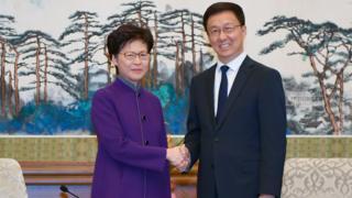 林郑月娥与韩正在北京钓鱼台国宾馆会面。