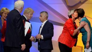 "Boris Johnson and Mayor of London Sadiq Khan shake hands as Gisela Stuart and TUC general secretary Frances O"" Grady greet each other, after the Great Debate"