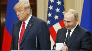 Donald Trump and Vladimir Putin at Helsinki summit. 16 July 2018