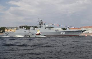 "The frigate Admiral Kasatonov during the ""Russia Navy Day"" parade in St Petersburg, Russia, 28 July 2019"