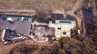 The remains of the Signorello Estate Winery are seen from the air in Napa, California